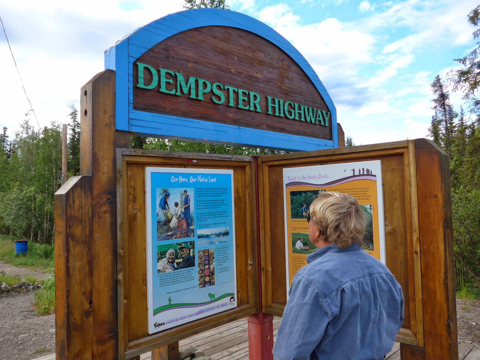 Anders at the Dempster Highway sign.