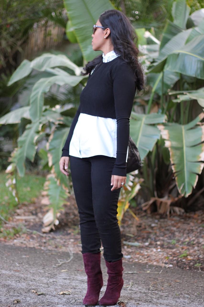 Zara J. Crew jeweled collar blouse chanel bag sunglasses madison harding burgundy suede wedge boot