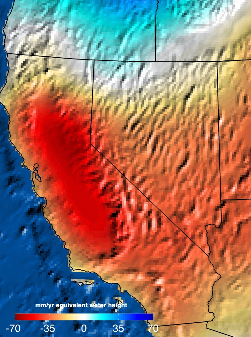 Trends in total water storage in California, Nevada and bordering states from NASA's Gravity Recovery and Climate Experiment (GRACE) satellite mission, September 2011 to September 2014. NASA scientists use these images to better quantify drought and its impact on water availability. Two-thirds of the measured losses were a result of groundwater depletion in California's Central Valley. (Credit: NASA JPL/Caltech) Click to Enlarge.