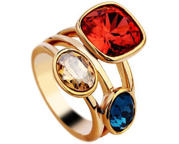 Special Blue Yellow Round Red Square Rhinestone Ring