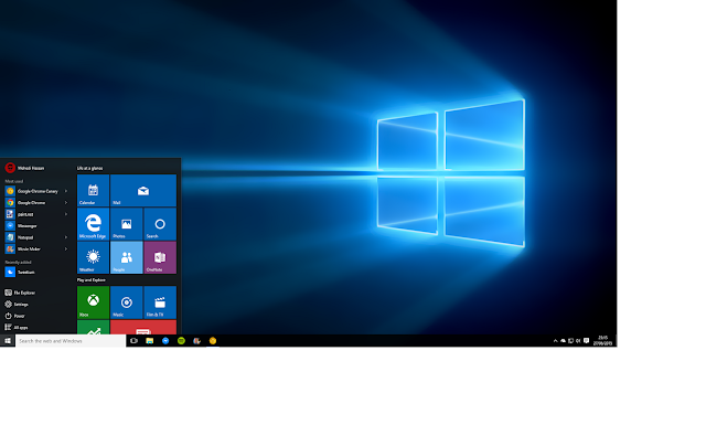 windows 10 start page menu programs