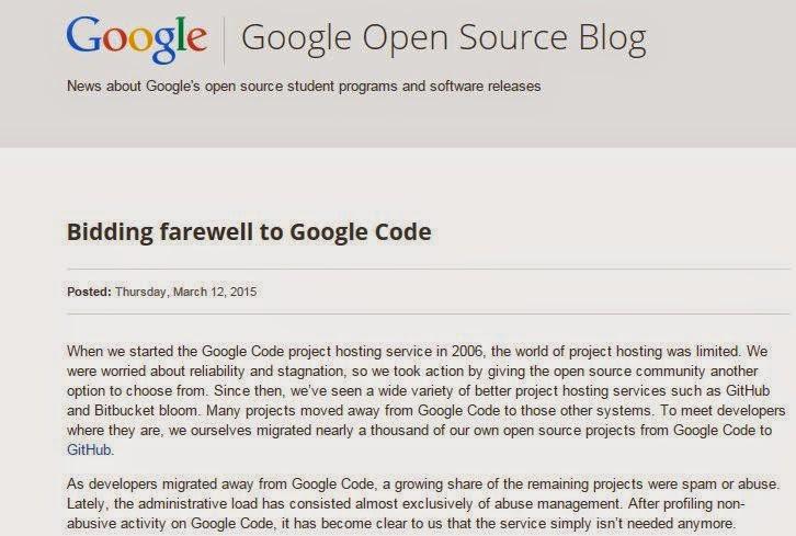 penutupan google code