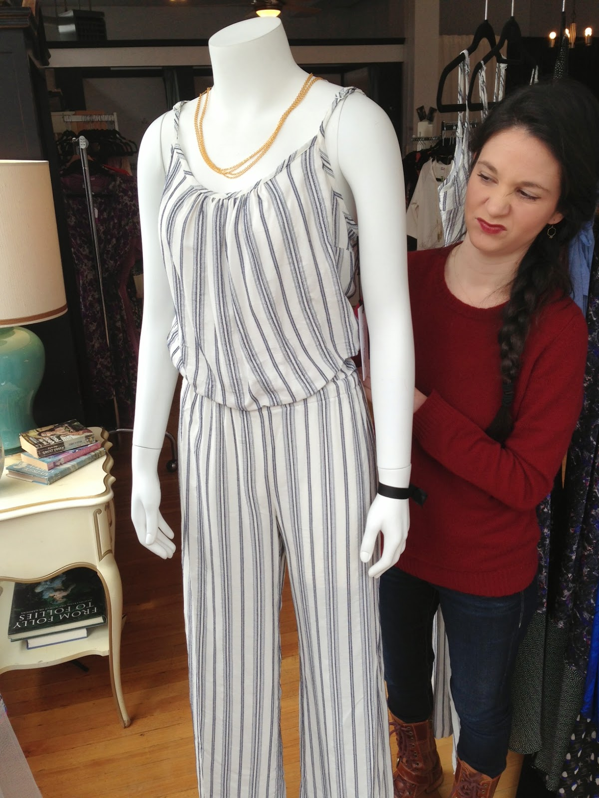 Jumpsuit by Fifteen-Twenty ($184), necklace by Nicole Weldon Jewelry ($34) at Folly