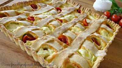 torta salata con formaggio di capra, basilico e pomodorini - recake2.0 maggio2015
