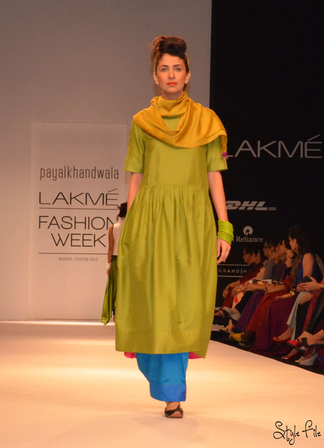 lakme fashion week payal khandwala green blue jewel tones bangles