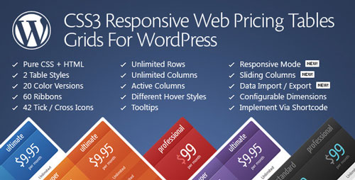 Free Download CSS3 Responsive V10.1 WordPress Compare Pricing Tables Plugin