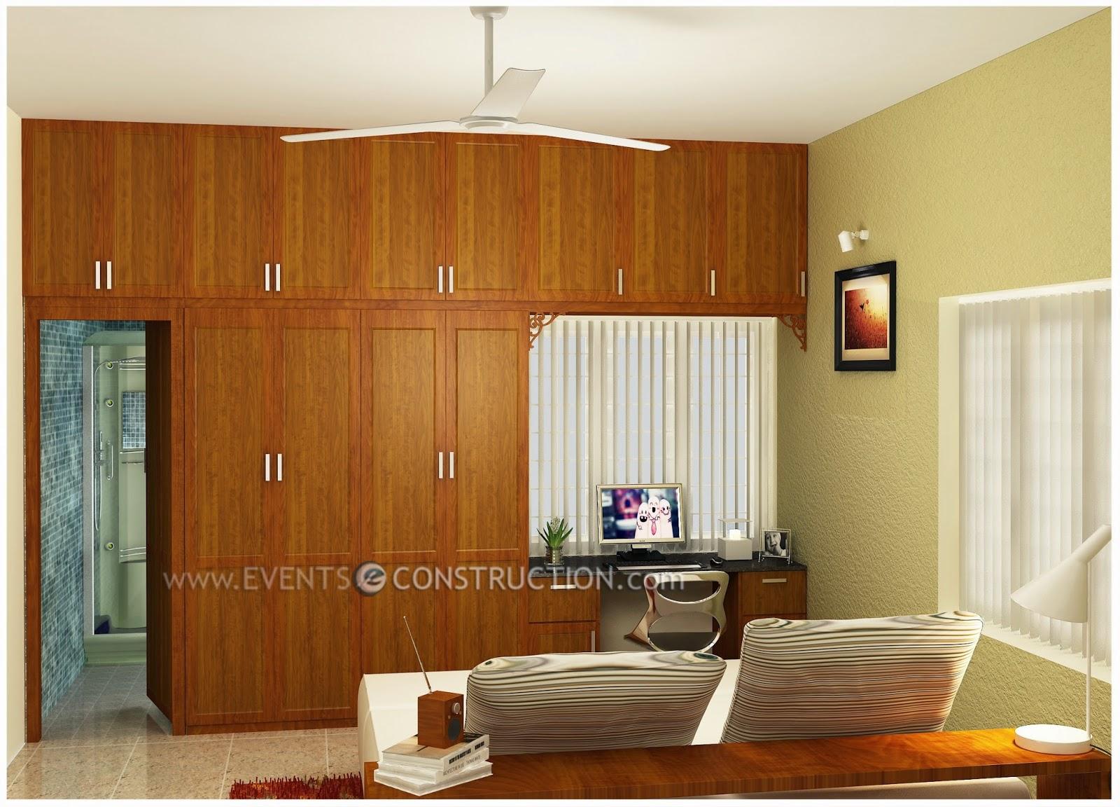 Evens construction pvt ltd bedroom interior design with - Wardrobe interior designs for bedroom ...