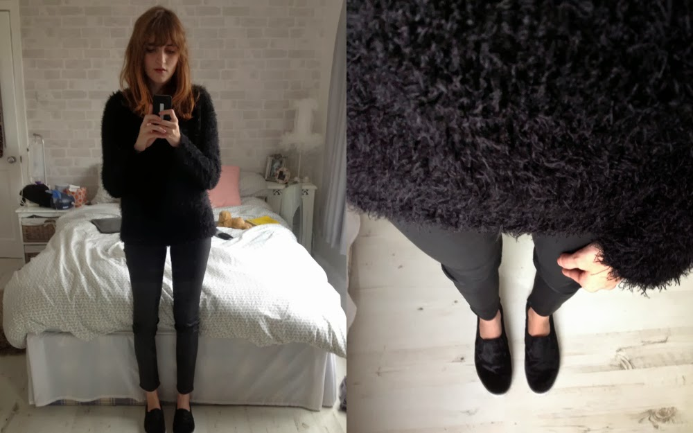 Primark Black Fluffy Jumper, Zara Coated Trousers, Gap Ponyskin Slip Ons