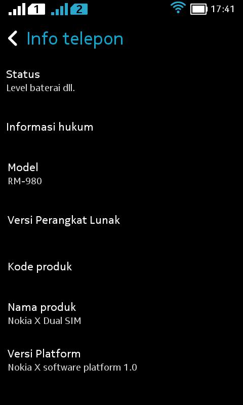 Tampilan About NOKIA X ROM