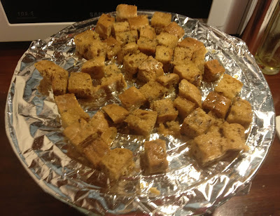oiled croutons