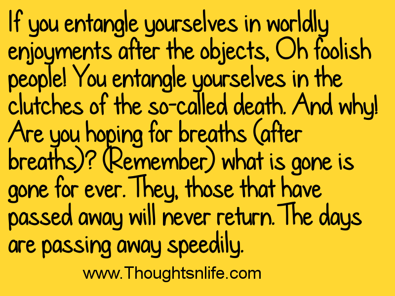 thoughtsandlife: If you entangle yourselves in worldly enjoyments after the objects
