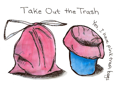 Trash bags, Watercolour and Ink by Ana Tirolese ©2012