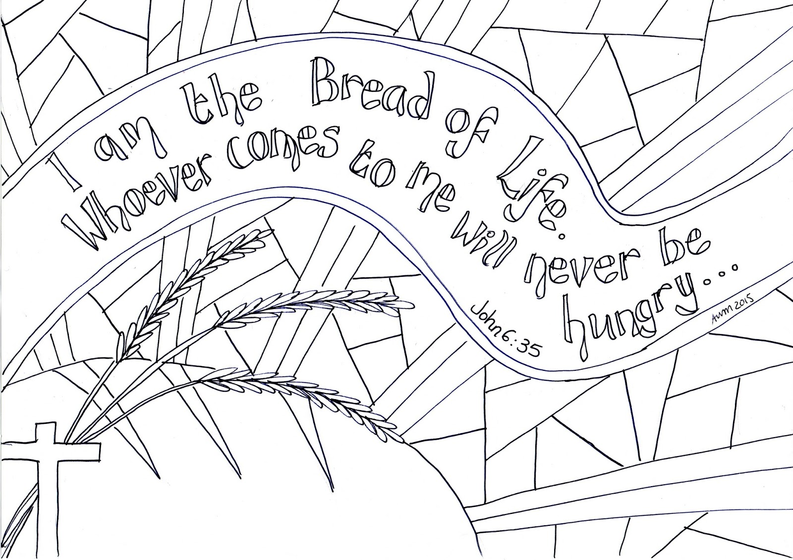 I Am The Bread Of Life Reflective Colouring Sheet
