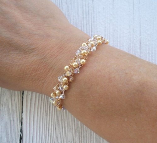 Gold Swarovski Pearls, Crystal Golden Shadow bicone Crystal wire crochet bracelet