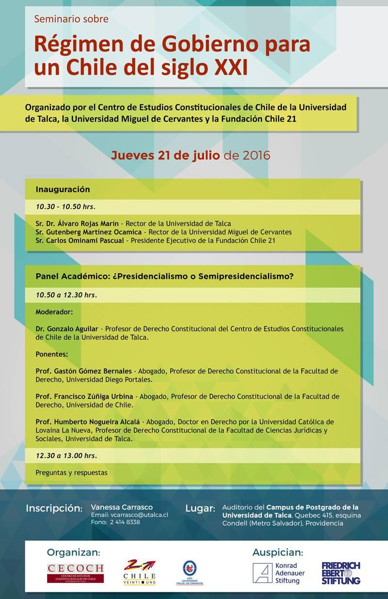 Seminario Régimen de Gobierno para un Chile del siglo XXI