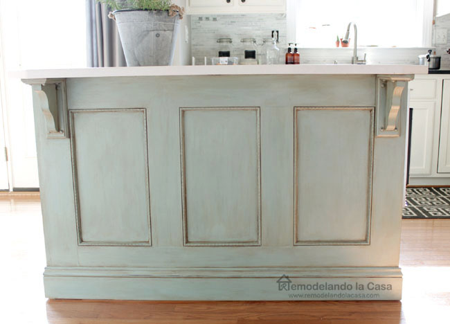 Kitchen Island Painted ASCP-Duck Egg Blue - Remodelando la Casa