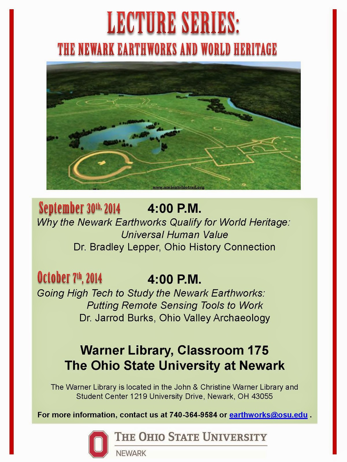 Lecture Series: The Newark Earthworks and World Heritage 2014 Flyer