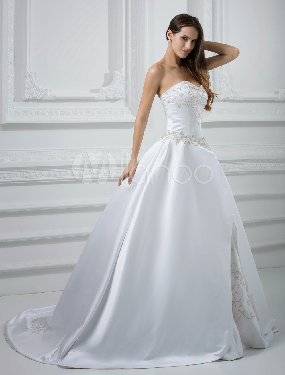 China Wholesale Dresses - Euro Style Ball Gown Sweetheart Satin Strapless Beading Embroidery Satin Wedding Dress