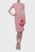 Rochie rosie cu maneca cu imprimeu dungi DonaKyros