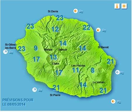 Prévisions météo Réunion pour le Jeudi 08/05/14