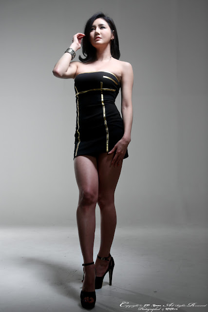 2 Han Ga Eun in Black Mini Dress - very cute asian girl - girlcute4u.blogspot.com