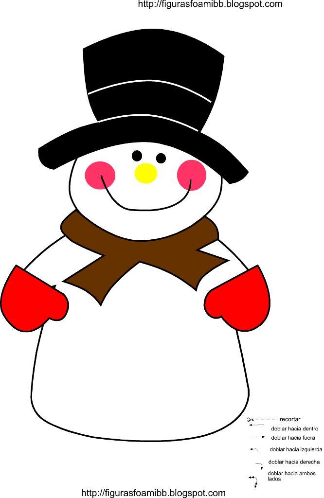 figuras y moldes de foami: molde muñeco de nieve de navidad en foami