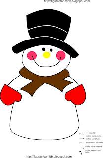 patron muñeco de nieve para foami