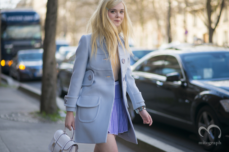 Actress Elle Fanning leaves Miumiu 2014 Fall Winter Show during Paris Fashion Week PFW