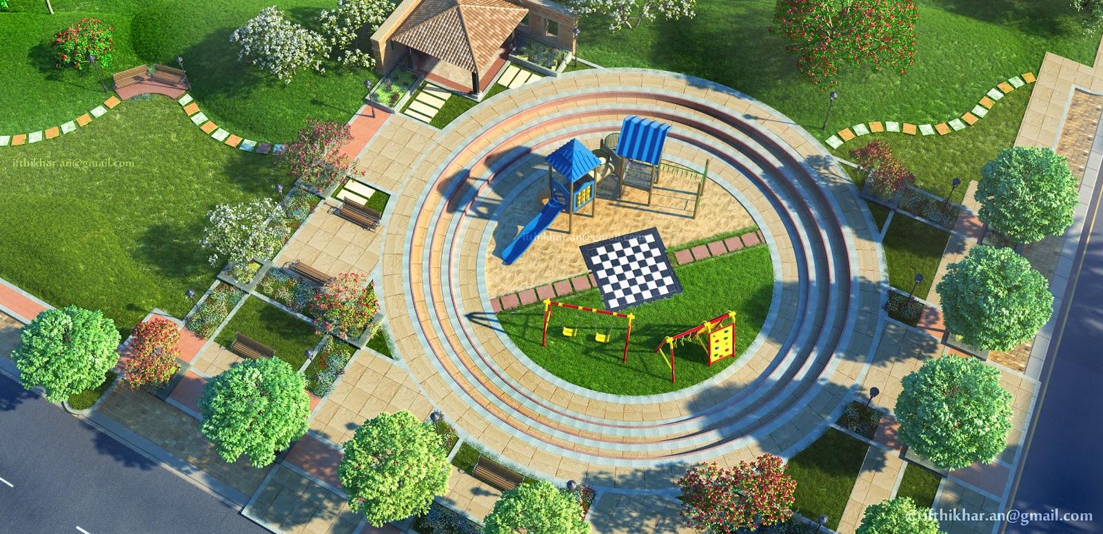 3d Exterior Landscape Visualization For A Group Housing