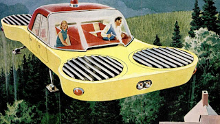 "A ""flying fan"" vehicle, as depicted in Popular Mechanics magazine in 1957, that was being developed by Hiller Helicopters. The magazine predicted a four-door consumer model would be available in 10 years. We're still waiting! (Popular Mechanics)"