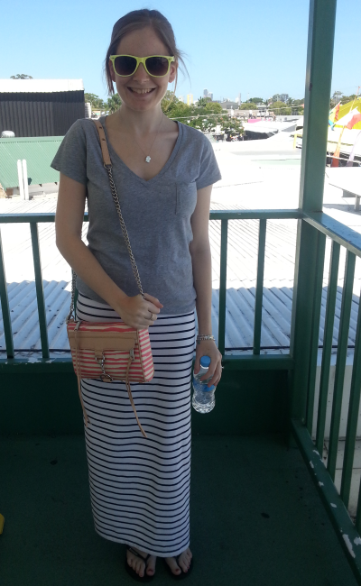 Australian Summer outfit spectrum grey tee striped maxi skirt RM mini MAC bag
