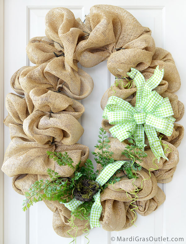 Burlap, Wreath, Deco Mesh, Tutorial, DIY, Twig Works, Natural Decor, Fern, Spring Decor