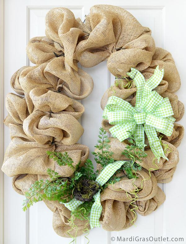 Burlap, Wreath, Deco Mesh, Tutorial, DIY, Twig Works, Natural Decor, Fern, Spring Decor