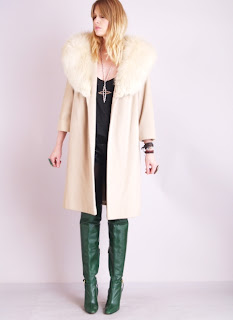 Vintage 1960's nude colored cashmere coat with large fox fur collar.