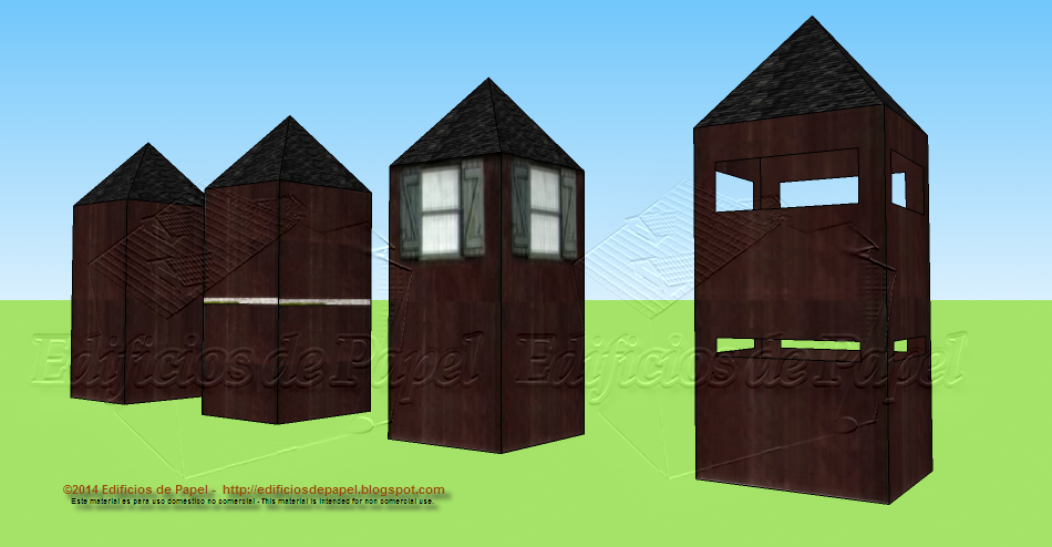 Four different towers for your paper models of fortifications