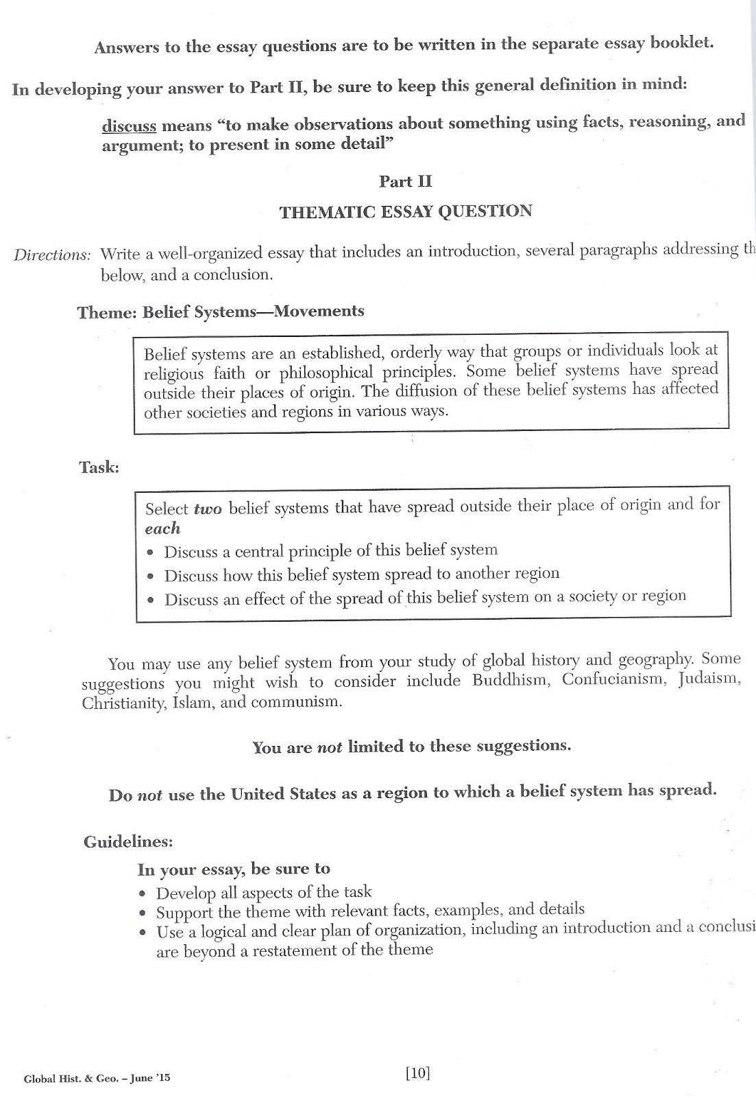 Nys regents essay questions