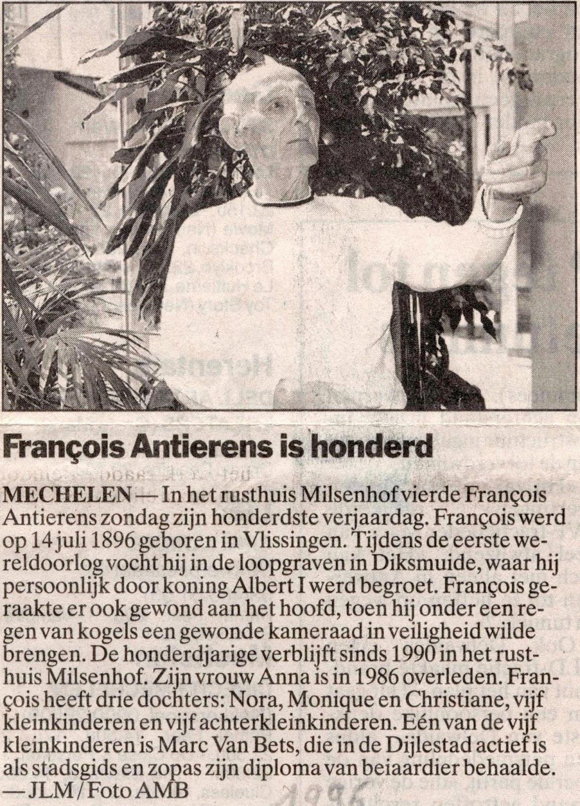 François Anthierens gevierd als eeuweling. Krant van juli 1996.