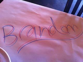 Waiter's name on table