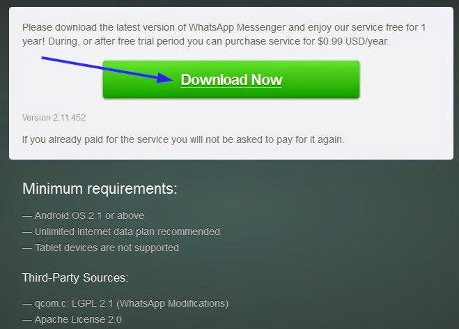 downloading the latest version of WhatsApp Messenger