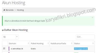 6 Hosting berhasil dibuat (karyafikri.blogspot.com)
