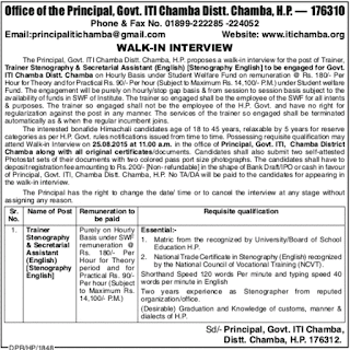 ITI Chamba recruitment 2015
