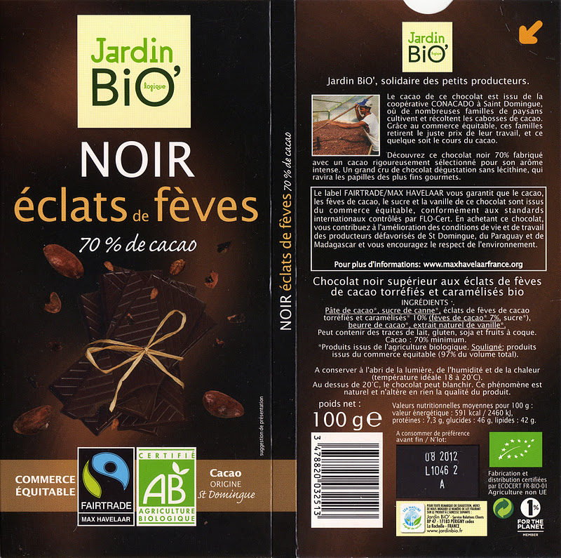 Jardin bio noir eclats de f ves 70 tablette de choc for Jardin bio