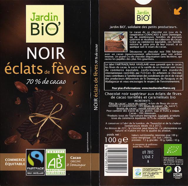 tablette de chocolat noir gourmand jardin bio noir eclats de fèves 70