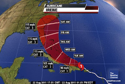 >IRENE UPGRADED TO HURRICANE STATUS, LOOKING MORE THREATENING TO US, LONDON FACES POSSIBLE FLOODING TONIGHT, TOMORROW