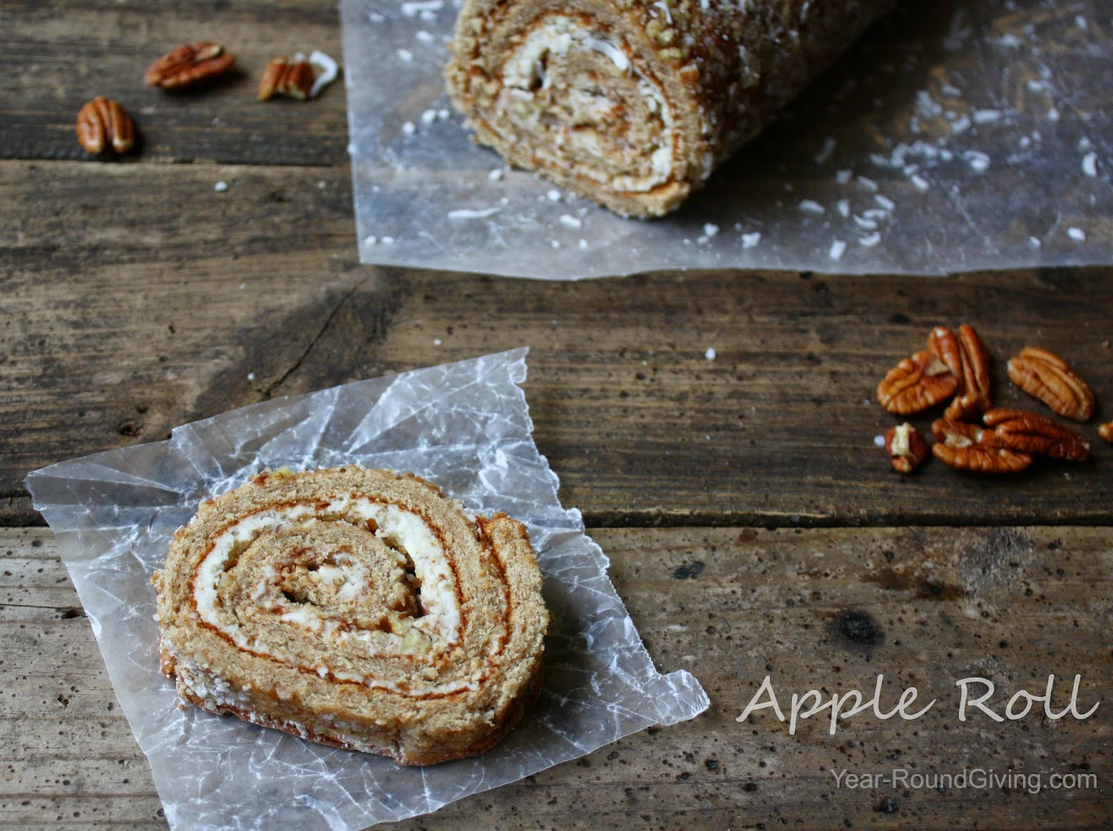 Apple Roll - Apple cake rolled with cream cheese pecans and coconut.