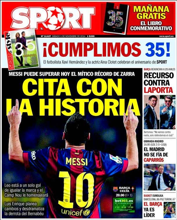 Portada Sport (1/11/2014)