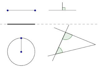 Axioma I : Pode-se traçar uma única reta ligando quaisquer dois pontos. Axioma II: Pode-se continuar (de uma maneira única) qualquer reta finita continuamente em uma reta. Axioma III: Pode-se traçar um círculo com qualquer centro e qualquer raio. Axioma IV: Todos os ângulos retos são iguais. Axioma V: Se uma reta, ao cortar outras duas, forma ângulos internos, no mesmo lado, cuja soma é menor que dois ângulos retos, então estas duas retas, encontrar-se-ão no lado onde estão os ângulos cuja soma é menor do que dois ângulos retos.
