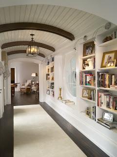 bookshelves in hall