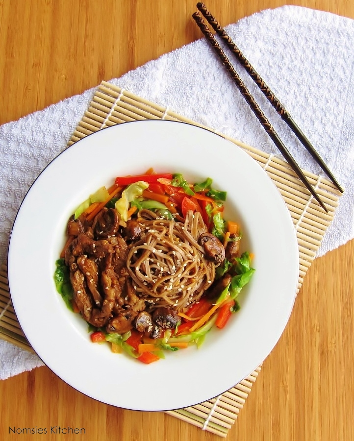 Soba Noodles with Pork and Vegetables Recipe from Nomsies Kitchen
