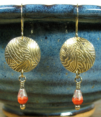 Libellula Jewelry:  Etched brass & Czech glass earrings